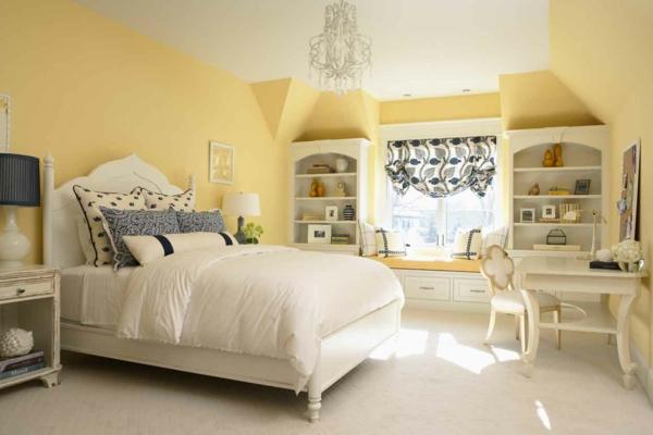 schlafzimmer wandfarbe eierschalenfarben wandfarben palette gelb