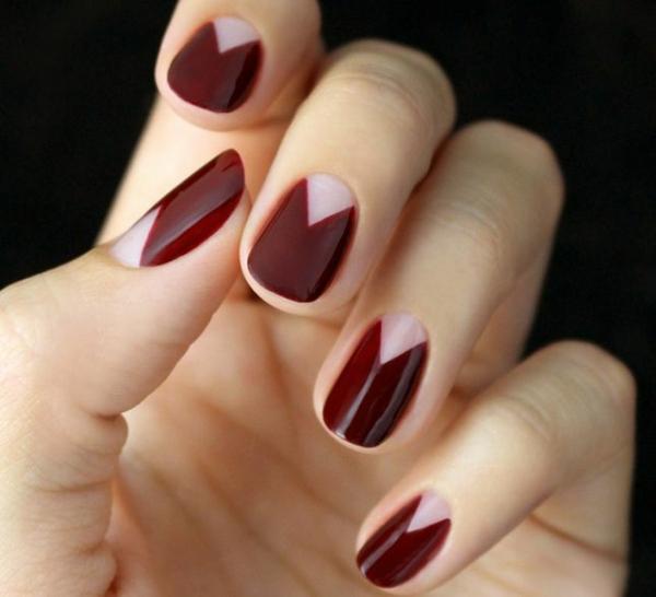 schlichtes nageldesign fingernägel bilder schlichte nägel kirschenrot