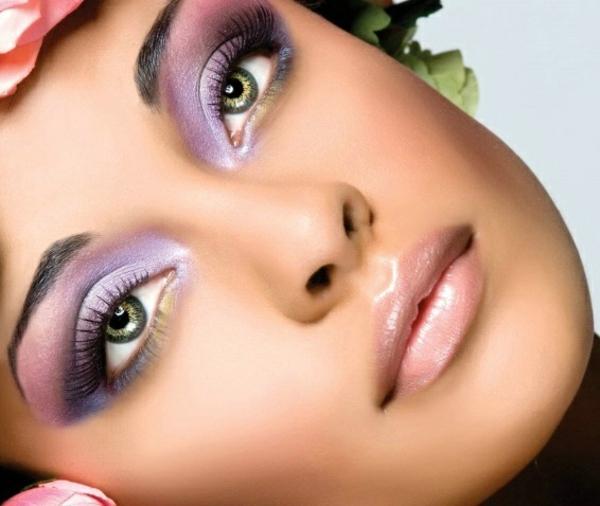 schminken augen natürliches make up lila augen