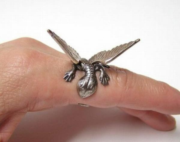 schmuck  ideen Fingerringe drache flügel