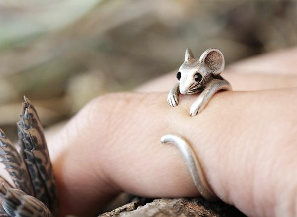 schmuck klein Fingerringe maus silber