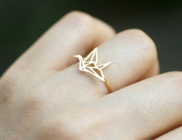 schmuck origami Fingerringe golden