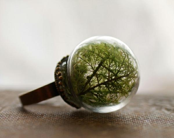 schmuck grün Fingerringe wald glas kugel