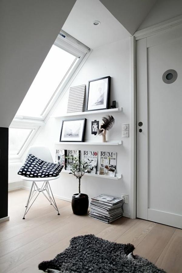 skandinavisch einrichten dachzimmer wandregale wandfarbe weiß