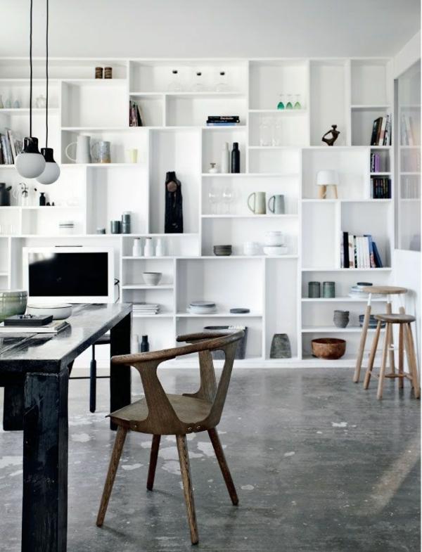 Skandinavisch Einrichten Esszimmer Wandregale Holz Tisch