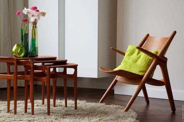 Skandinavische Möbel Couchtisch Holz Stuhl Beistelltische Teppich
