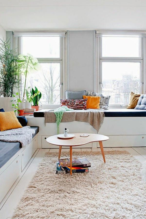 skandinavisches design möbel couchtisch holz zimmerpflanzen