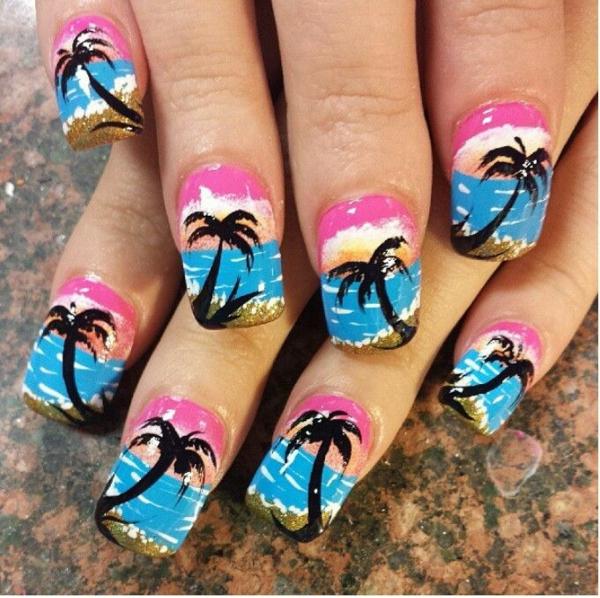 sommerurlaub nageldesign bilder nailart palme am strand