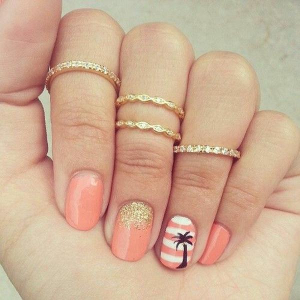 sommerurlaub nageldesign bilder nail art palmen muster