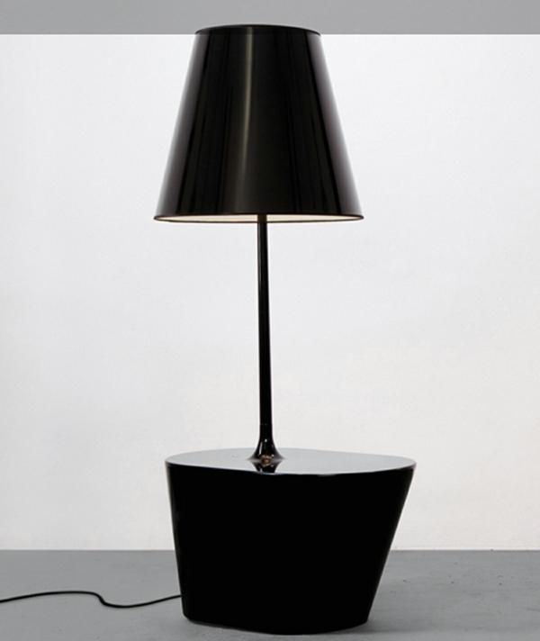 stehlampen design lampenschirm schwarz nachttischlampe