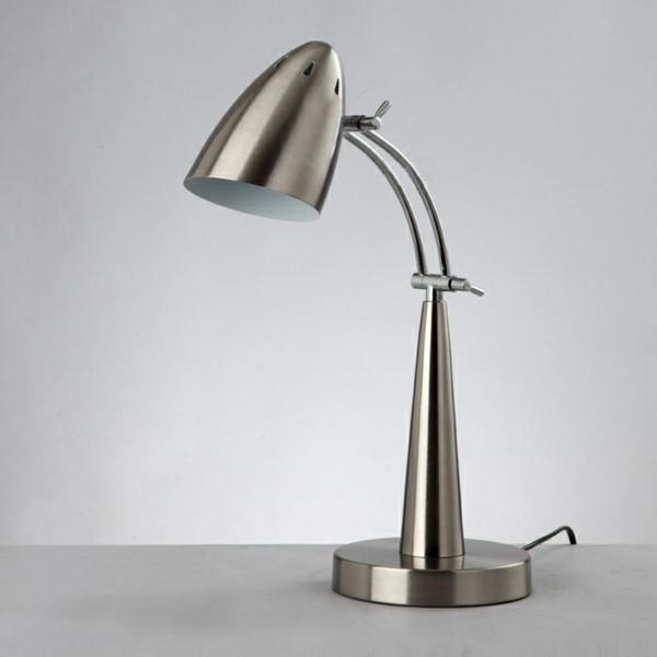 stehlampen design metall silber nachttischlampe
