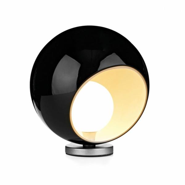 stehlampen design rund schwarz nachttischlampe