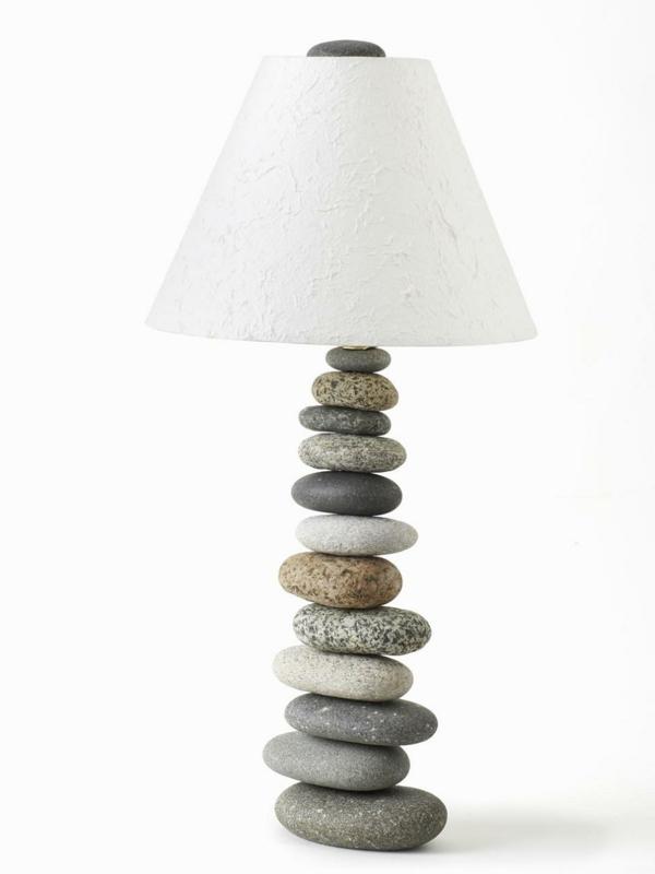 stehlampen design steine diy nachttischlampe