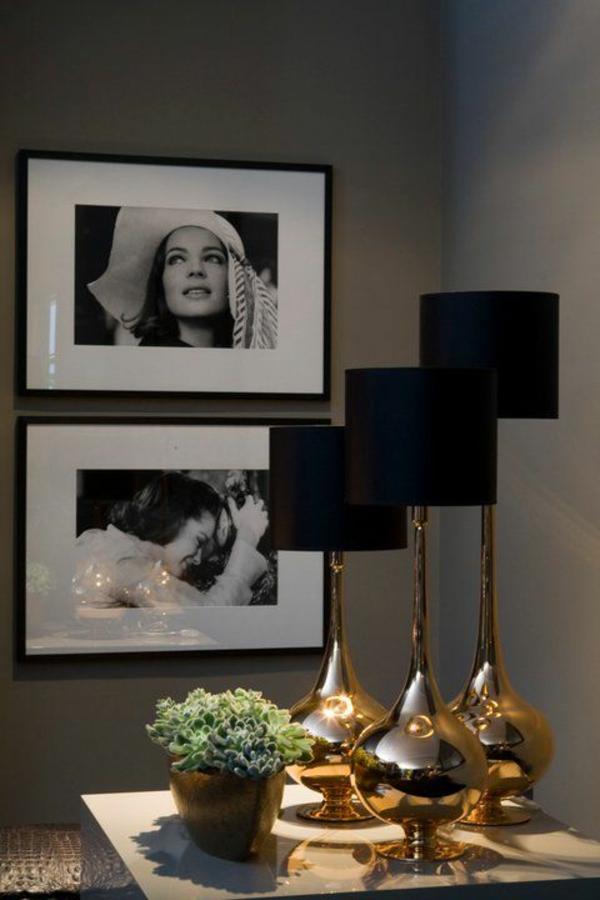 stehlampen modern gold schwarz lampenschirm