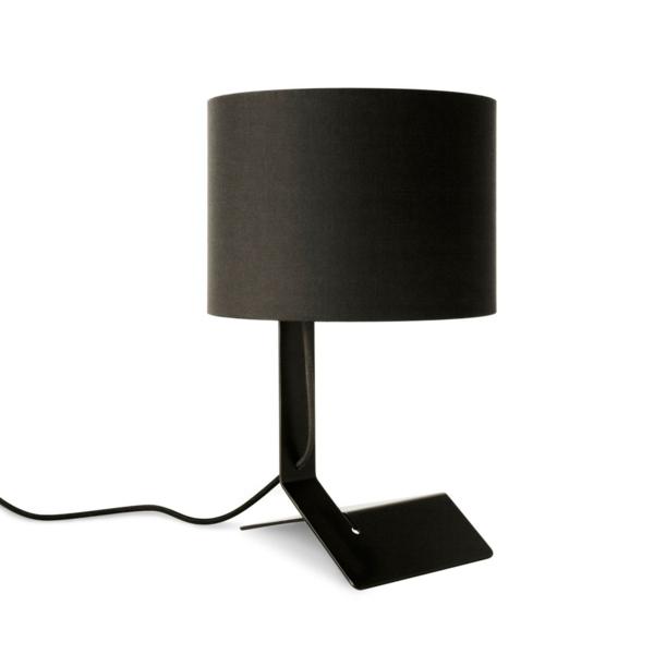 stehlampen modern holz lampenschirm schwarz