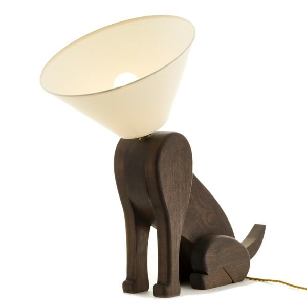 stehlampen modern holz weiß lampenschirm hund