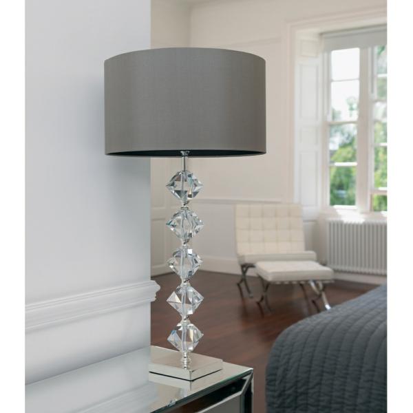 stehlampen modern lampenschirm grau nachttischlampe