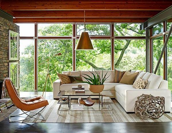 steinwand wohnzimmer rustikal holzboden teppich moderne wohnzimmermöbel