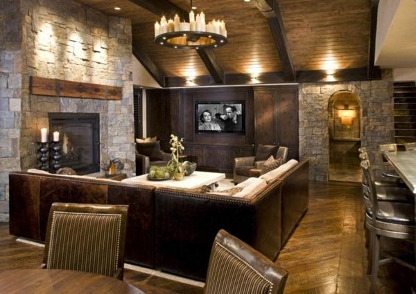 steinwand wohnzimmer rustikal holzboden verlegen kolonialmöbel