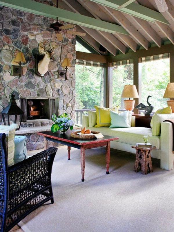 steinwand wohnzimmer rustikal möbel kamin
