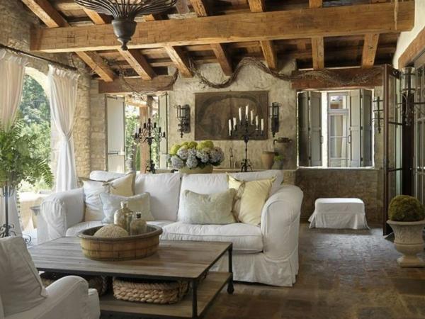 steinwand wohnzimmer rustikal stein wandwohnzimmer möbel landhausstil