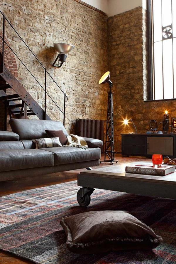 steinwand wohnzimmer rustikal wohnzimmermöbel holz couchtisch auf rollen