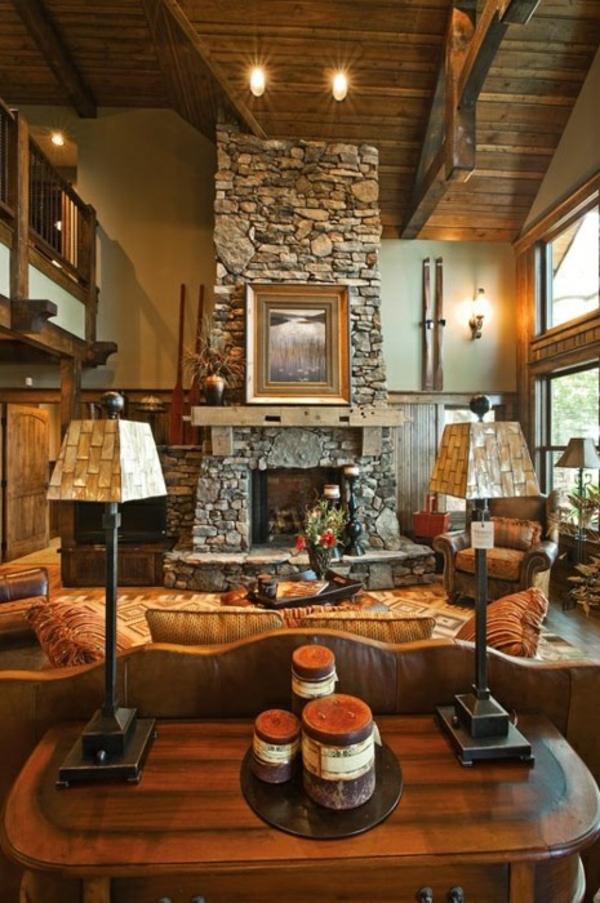 wohnzimmermöbel holz:steinwand-wohnzimmer-rustikal-wohnzimmermöbel-holz-couchtisch.jpg