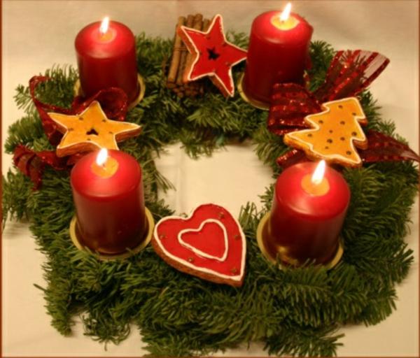 türkranz weihnachten kerzen plätzchen weihnachtsdeko