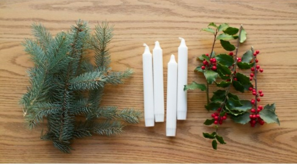 türkranz weihnachten kerzen weihnachtsdeko basteln materialien