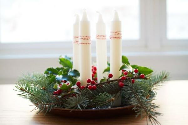 türkranz weihnachten kerzen weihnachtsdeko basteln