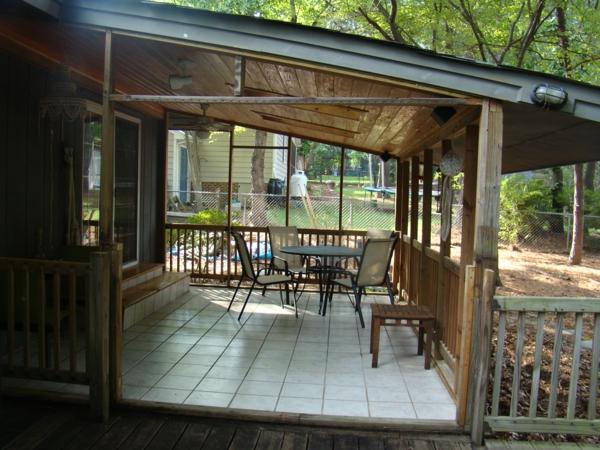 terrassengestaltung bilder veranda bauen amerikanische holzhäuser pultdachkonstruktion
