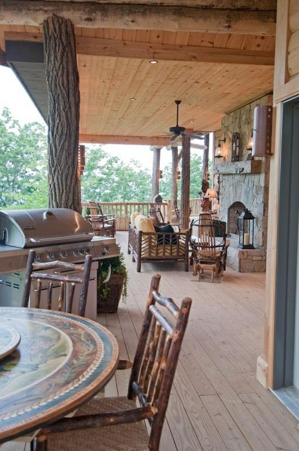 terrassengestaltung veranda bauen amerikanische holzhäuser outdoor küche