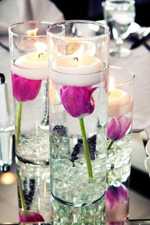 tischdeko ideen mit tulpen tischdeko lila kerzen