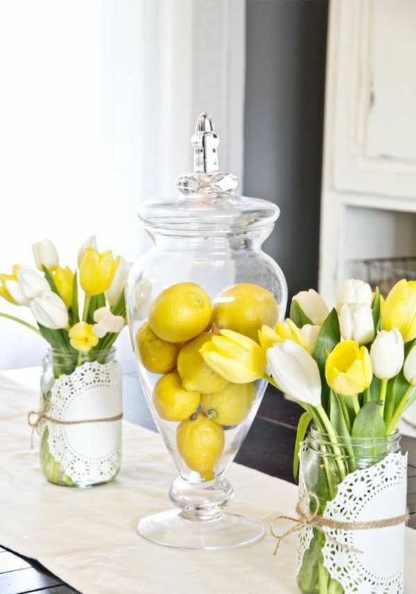 tischdeko ideen mit tulpen zitronen tischdeko rustikal einrichten