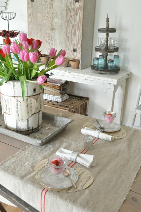 tischdeko selber machen tischdeko rustikal rosa tulpen