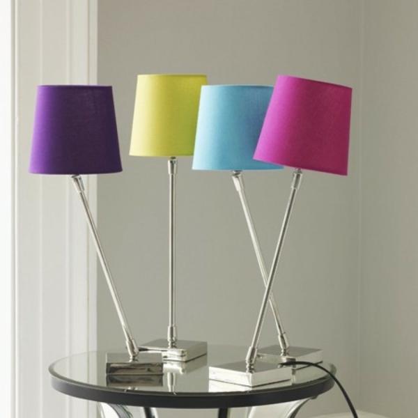 tischlampen stehlampen design lampenschirm farbig nachttischlampe