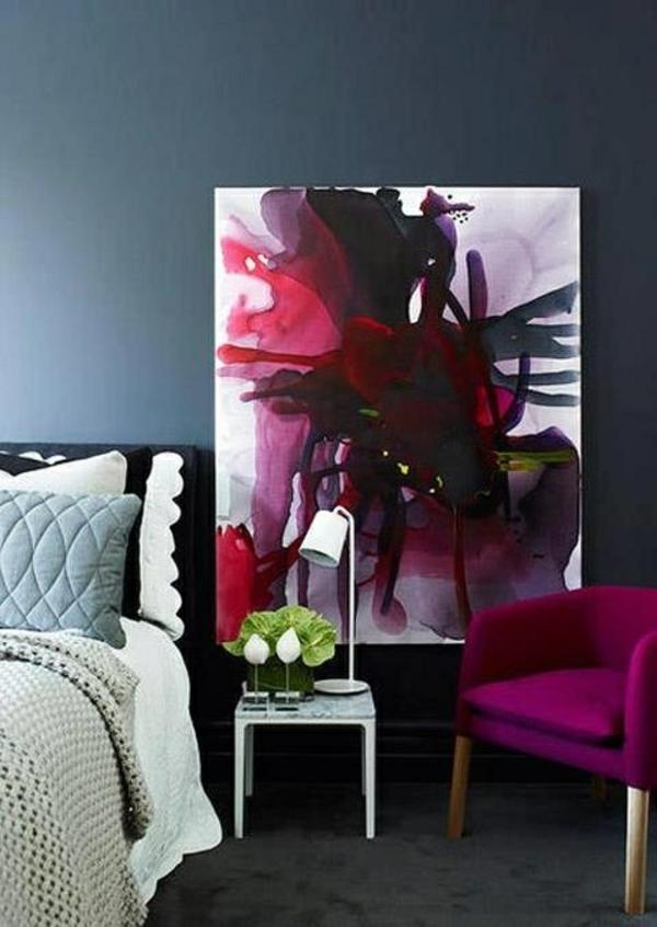 wohnideen wandfarben tolle wandgestaltung abstrakt leinwand