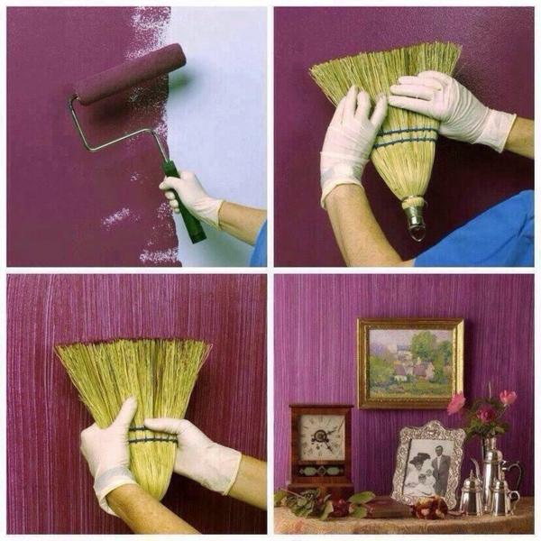 tolle diy wandgestaltung wohnideen wandfarben besen