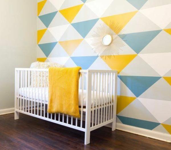 wandgestaltung wohnideen wandfarben geometrisch kinderzimmer
