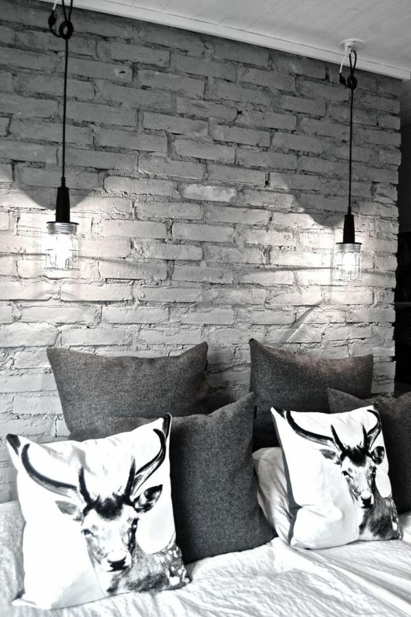 hängelampen wandgestaltung wohnideen wandfarben grau schlafzimmerwand