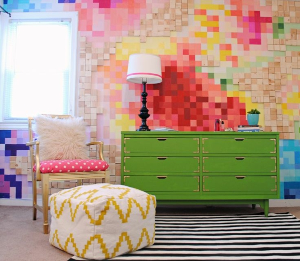 tolle kommode wandgestaltung wohnideen wandfarben mosaik geordnet