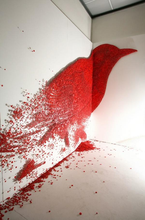 tolle wandgestaltung wohnideen wandfarben originell rot