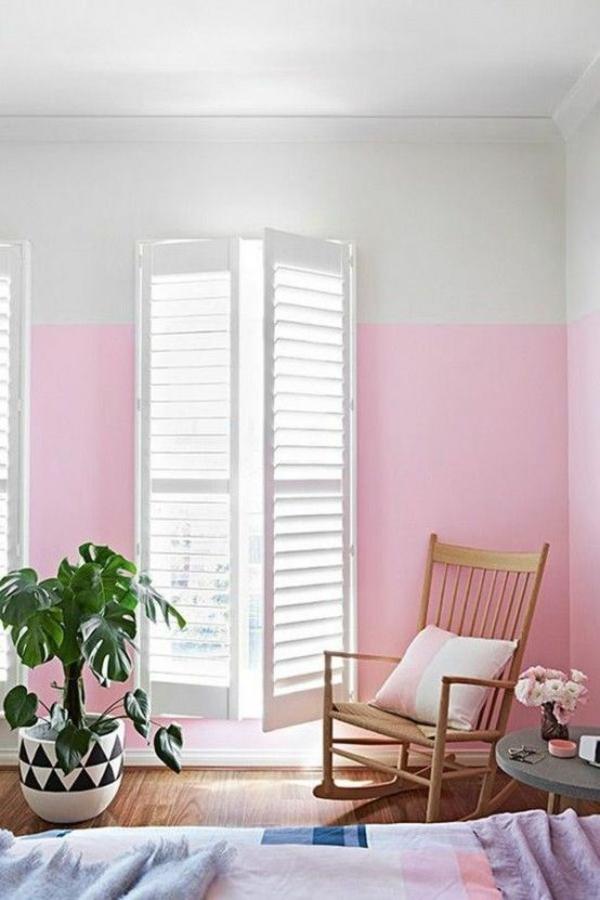 rollläden wandgestaltung wohnideen wandfarben rosa weiß