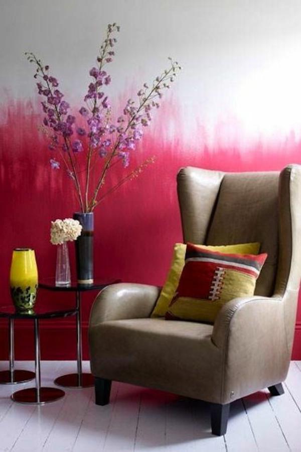 gelb lampenschirm wandgestaltung wohnideen wandfarben rot weiß sessel