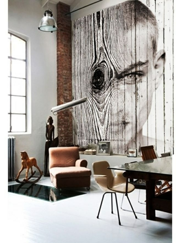 gesicht wandgestaltung wohnideen wandfarben schwarz weiß design