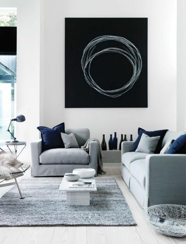kreis abstrakt wandgestaltung wohnideen wandfarben schwarz weiß