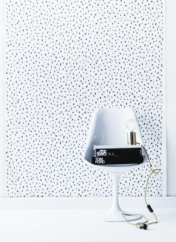 schwarz weiß simpel wandgestaltung sessel idee wanddeko