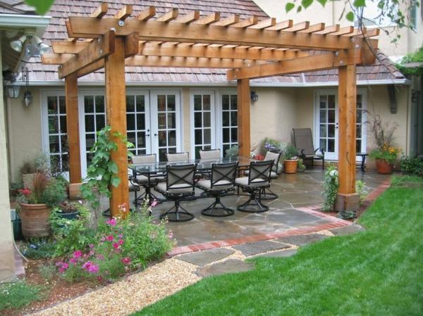 veranda bauen terassenüberdachung holz holzpergola selber bauen gartenideen