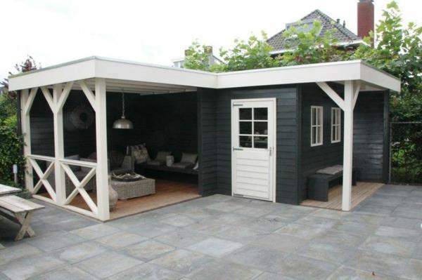 vorbau diy ideen veranda bauen amerikanische holzhäuser terrassendielen betonpflaster