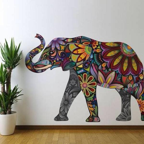 wanddeko elefanten wohnideen wandfarben toll gestalten